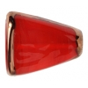 Glass Lamp Bead 22x18x5mm Siam Ruby/Bronze Triangle